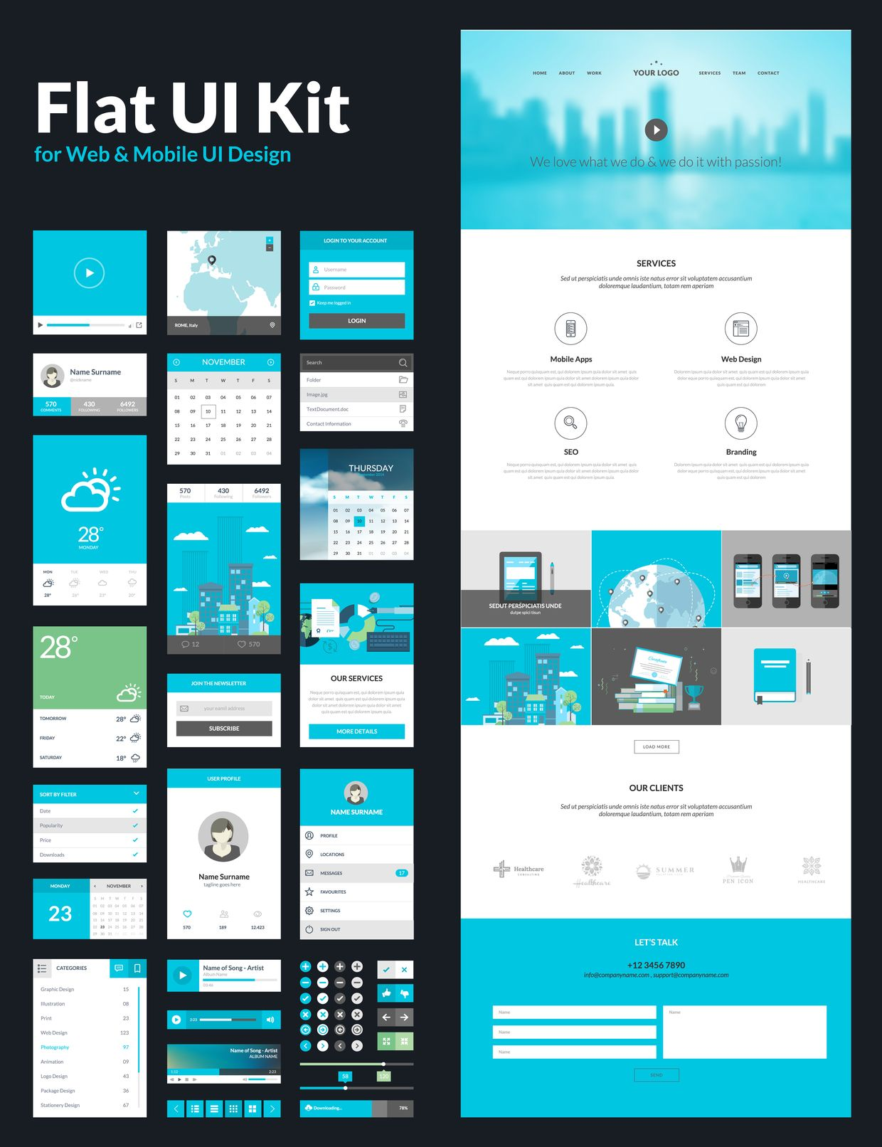 All In One Set For Website Design That Includes One Page Website