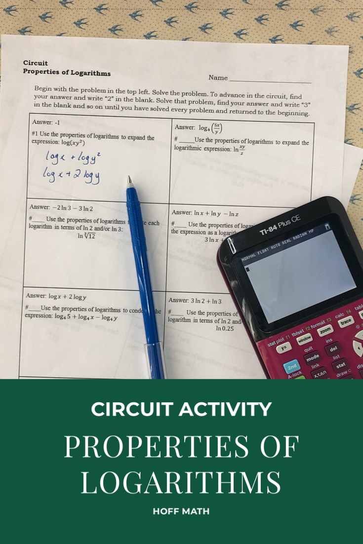 Properties of Logarithms CIRCUIT distance learning in