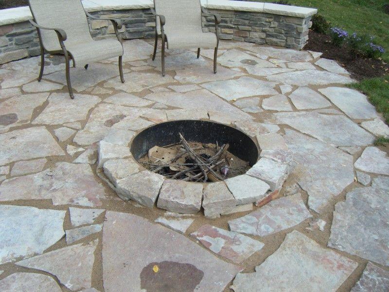 Flagstone patio fond du lac fagstone with sunken fire Sunken fire pit ideas