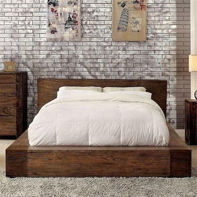 Ultra Modern Low Profile Queen Platform Bed With Open Wood Grain