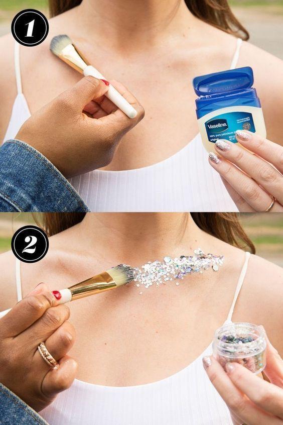 12 besten Body Glitter Hacks - wie man Glitter auf seinen Körperkostümen trägt #makeup - Make-up#auf #besten #body #glitter #hacks #körperkostümen #makeup #man #seinen #trägt #wie
