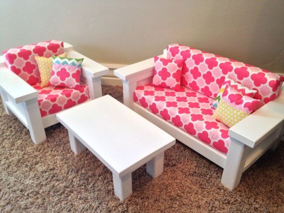 Items Similar To ON SALE American Girl Doll Furniture. 3 Pc Living Room  Set: Couch, Chair U0026 Coffee Table For Doll. Multi Pink Quatrefoil On Etsy