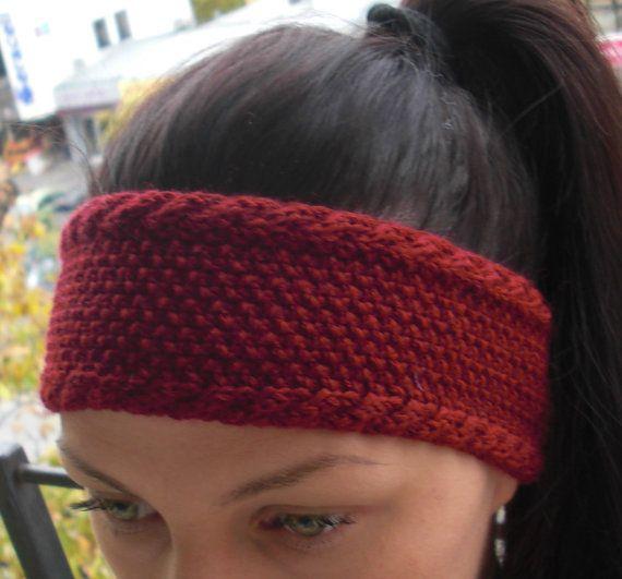 Knit headband Ear warmer knit ear warmer hand knit headband red ...