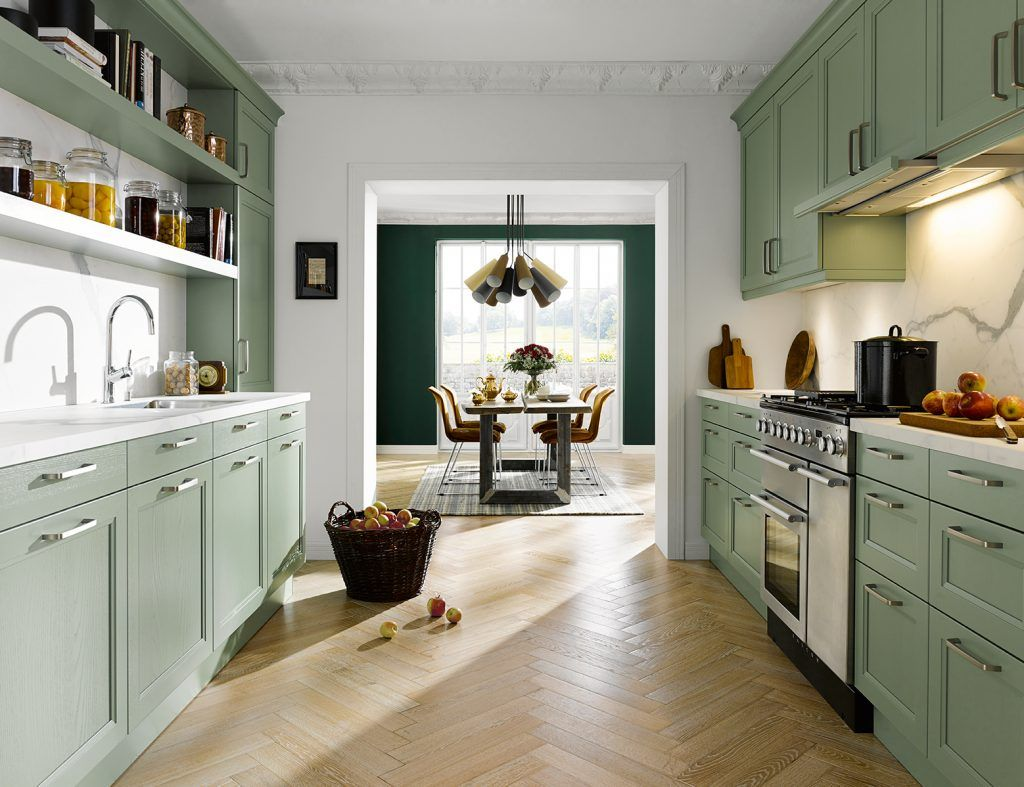 Image result for green galley kitchen Eclectic kitchen