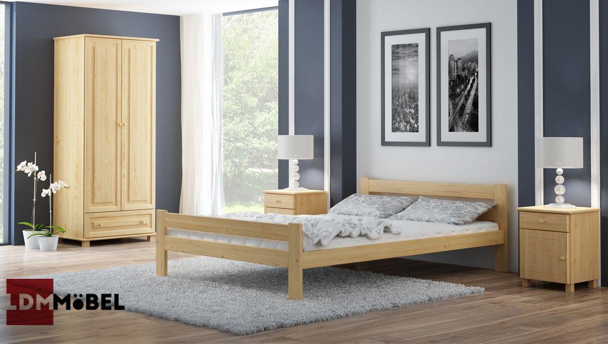 Bett Massivholzbett Ehebett Massivholz 160x200 Lattenrost Matratze
