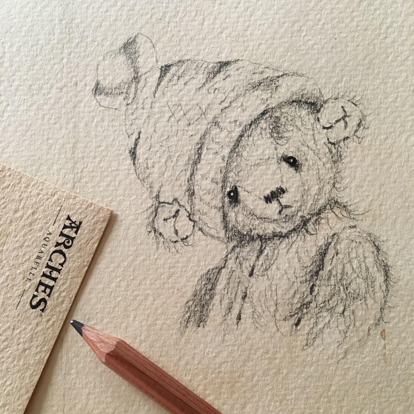 Drawing of an artist teddy bear with pencil teddy in 2019 teddy