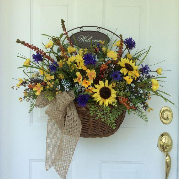 Fall Door Arrangements: Summer Wreaths, Front Door Decor, Fall Wreaths, Sunflowers