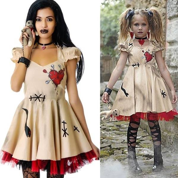 Halloween Costume Girl's Women Cosplay Dress Voodoo Doll Costumes for Adults&Child Fancy Dress Ball #deguisementfantomeenfant