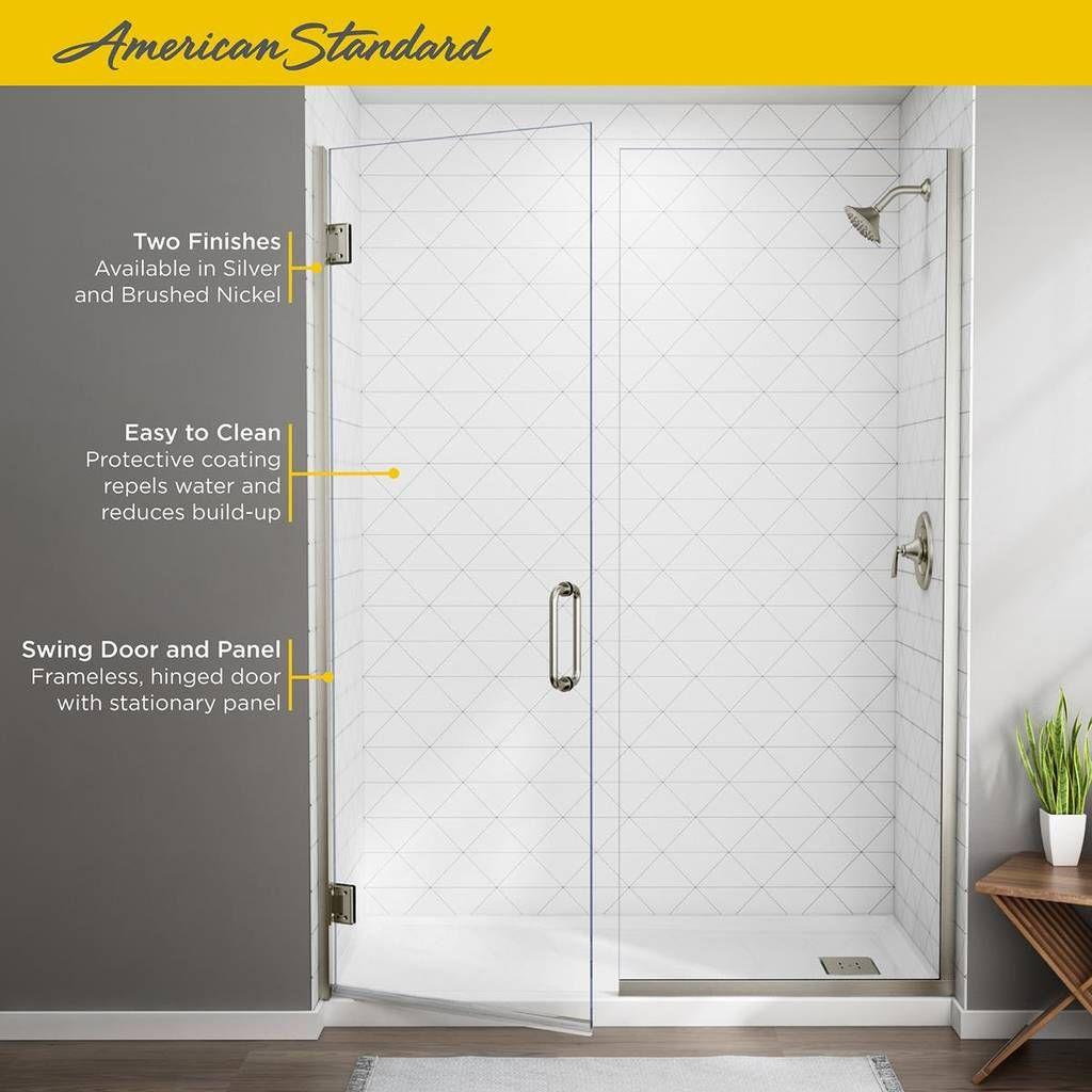 Frameless Swing Shower Door With Panel 58 1 16 59 9 16 American Standard Shower Doors Safety Glass Frameless Door