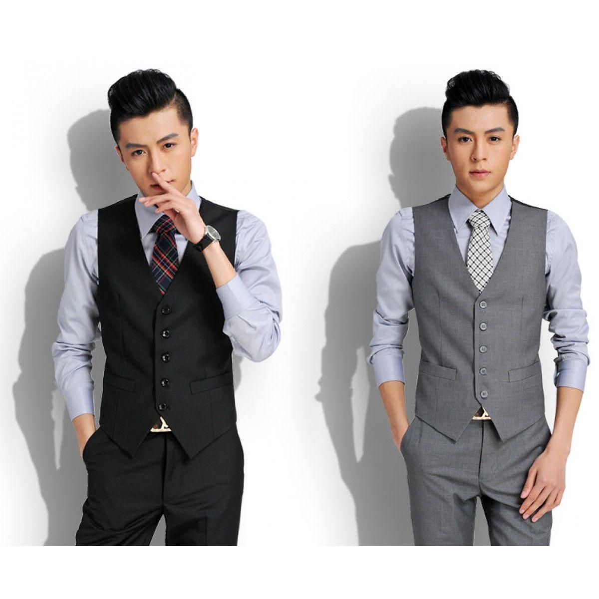 gilet de costume sans manche gris pour homme avec col en v. Black Bedroom Furniture Sets. Home Design Ideas