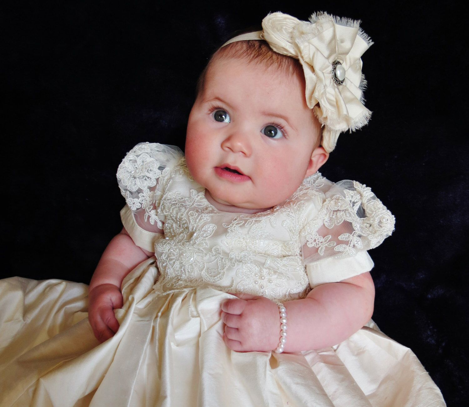 Dupioni Silk Alencon Lace Christening Gown Baptism Gown 0 3