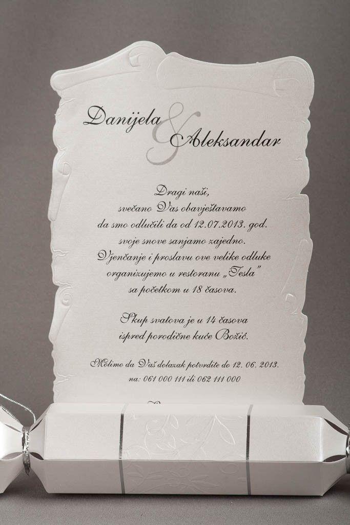 Pozivnica za vjenčanje 2531 Sedefasti sjajni papir reljef