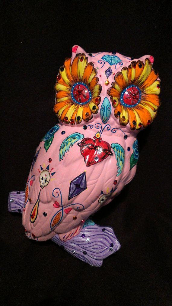 Ceramic Sugar Skull Day of the Dead Owl Wall by AventurineForest ...