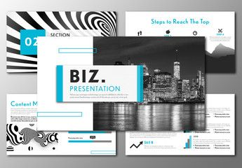Presentation Layout with Blue and Black Accents