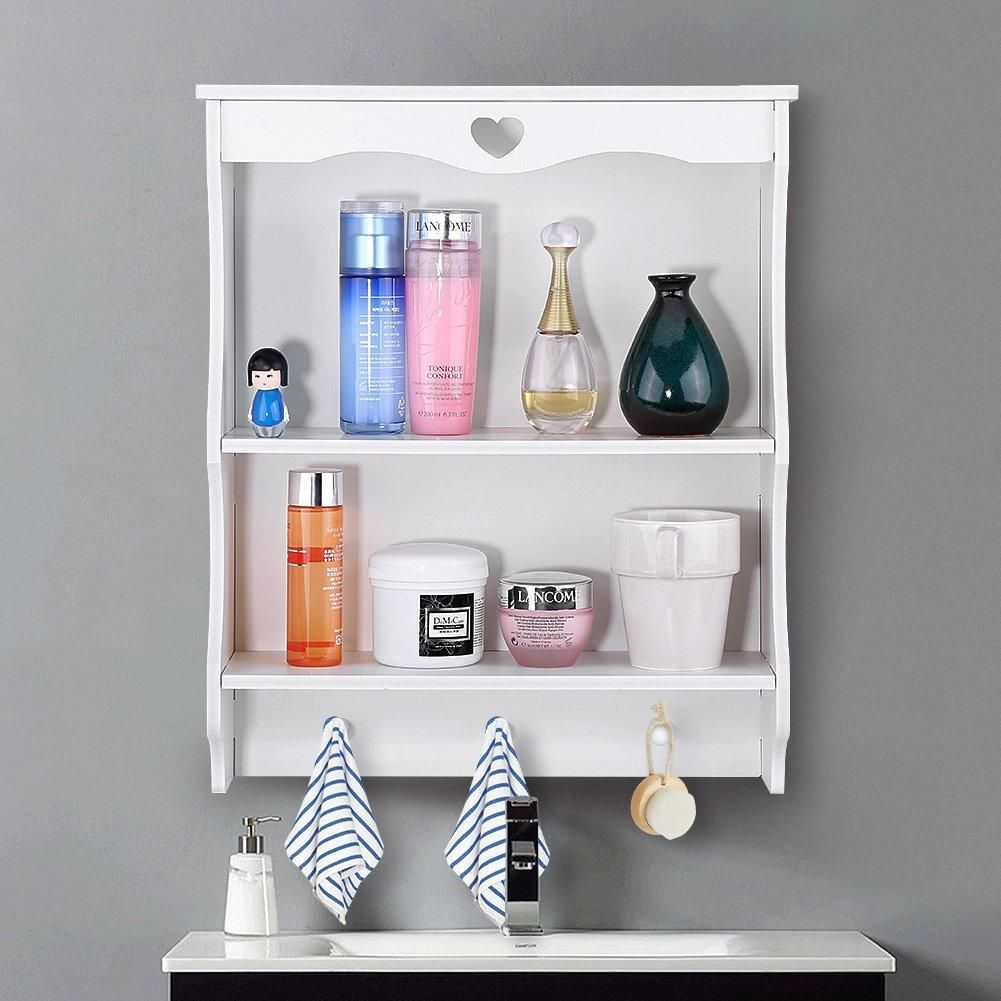 Wall Shelving Unit with 3 Hooks Ideal for Kitchen, Bathroom, Bedroom ...