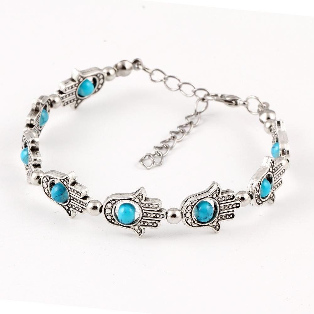 New Classic tibetan silver Plastic Bead Bracelet Hamsa Hand Wrist ...