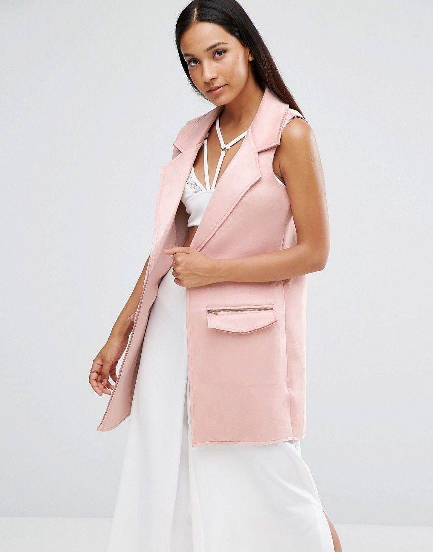 8455b66a4550b Buy it now. AX Paris Sleeveless Faux Suede Jacket - Pink. Jacket by ...