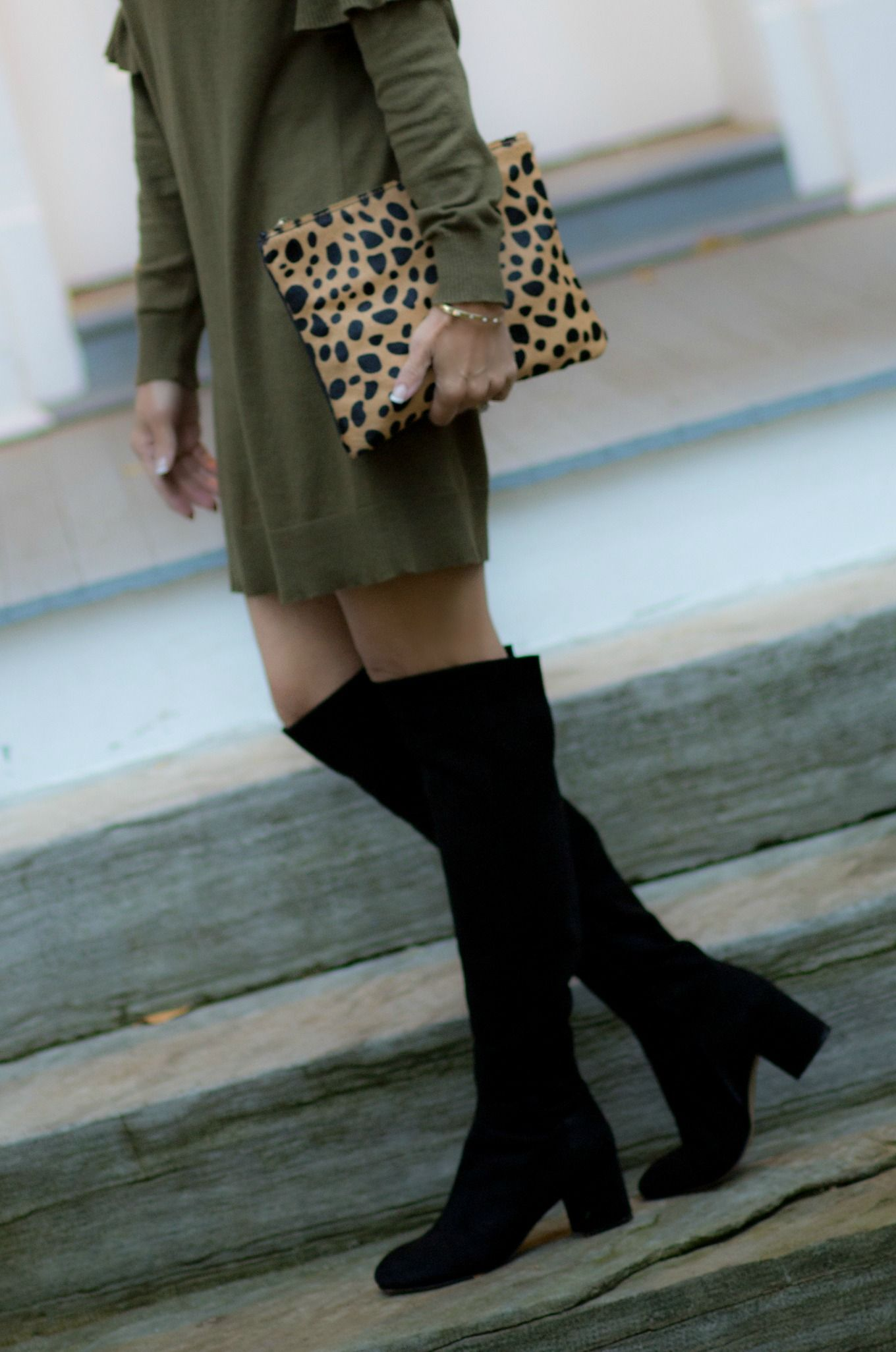 4199818d5fa6 25 Days of Winter Fashion  Ruffle Dress + Over The Knee Boots ...