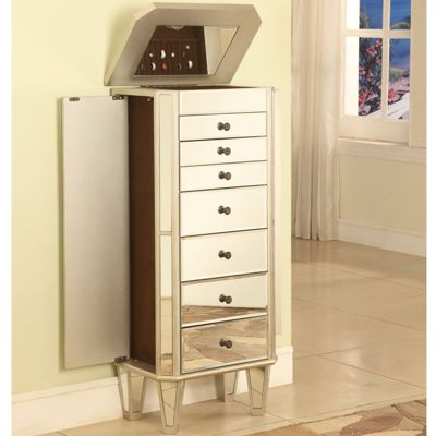 Buy Mirrored Jewelry Armoire with Silver-Tone Wood at ...