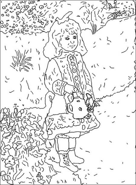 Girl W Watering Can Renoir Coloring Books Famous Art Coloring Coloring Pages