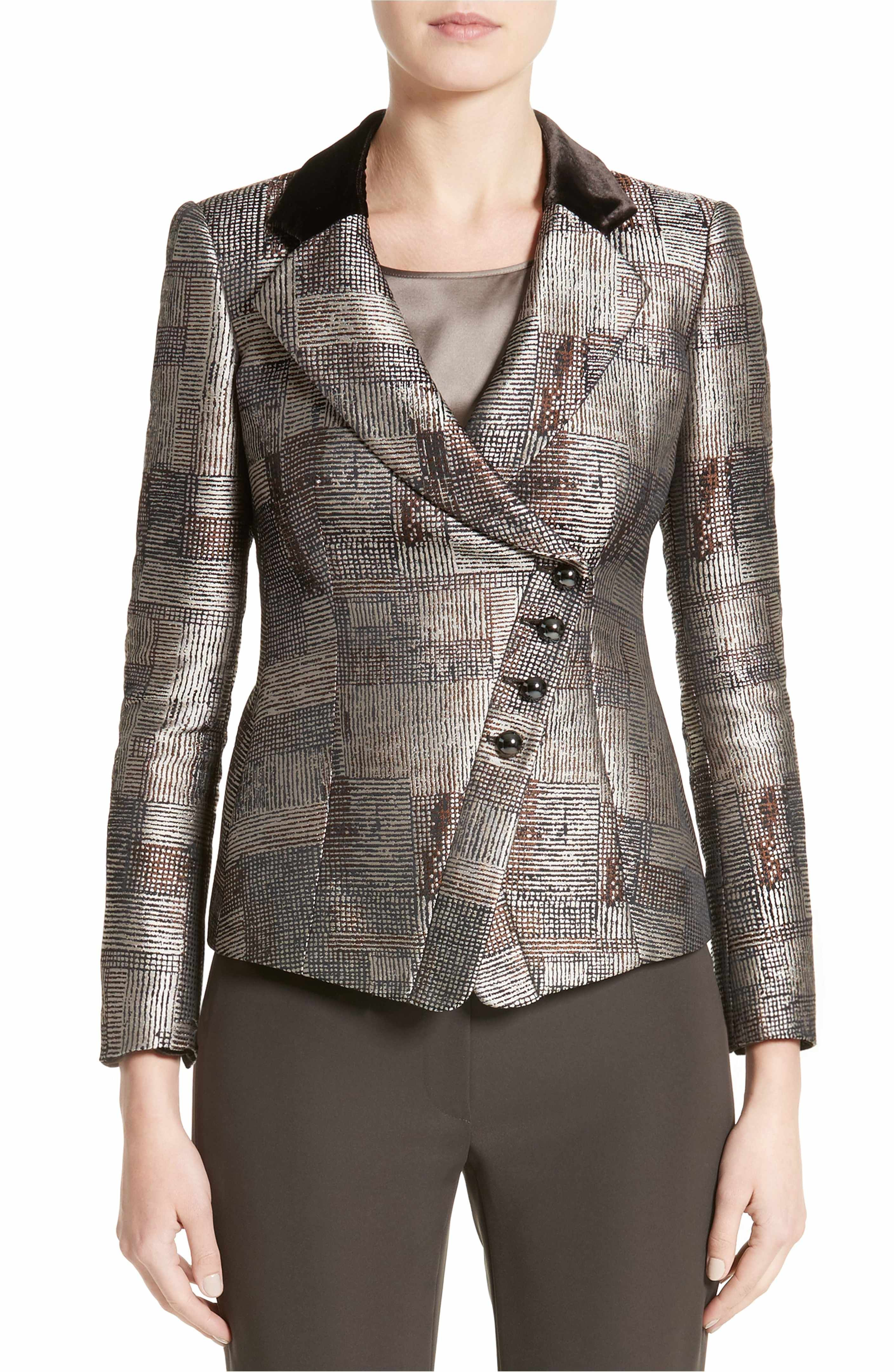 bd0a1b61e5f Main Image - Armani Collezioni Panel Jacquard Asymmetrical Jacket ...