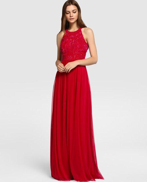 a034af2c8 Vestido de fiesta de mujer Tintoretto con escote halter y bordado ...