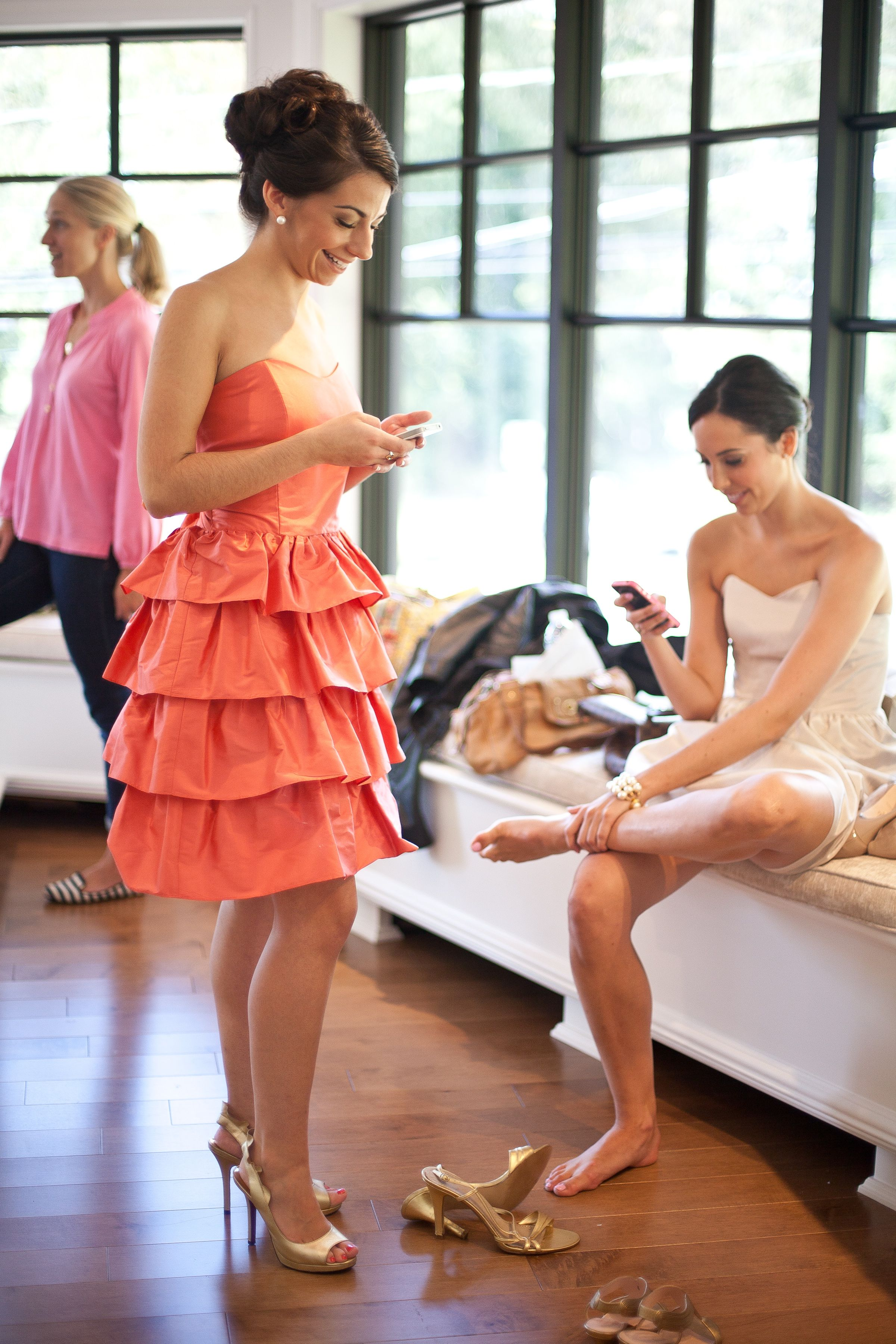 Behind the scenes with Coren  Dresses: Anna, mango silk shantung & Laurie, pebble faille  Photographer: Jacqueline Patton