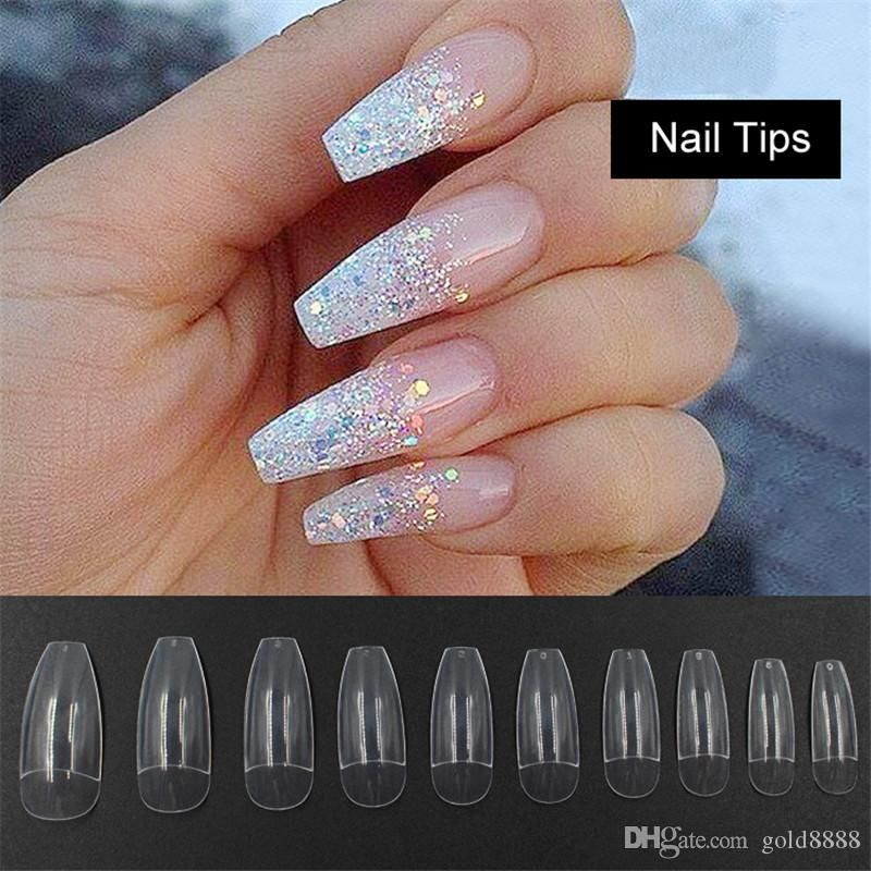 Long Ballerina Half Nail Tips Clear Coffin False Nails Abs Artificial Diy False Fake Uv Gel Nail Art Tips High Qua Ombre Nail Designs Fake Nails Long Nail Tips