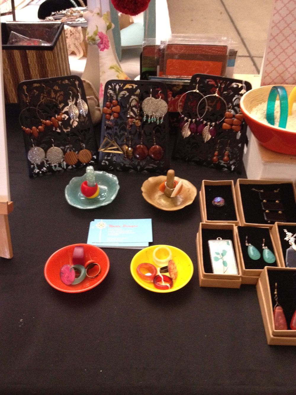 Resin trinket bowls & ring holders and more handmade jewellery at at the BrisStyle markets Brisbane Qld all items deigned and made by Marlu Designz.