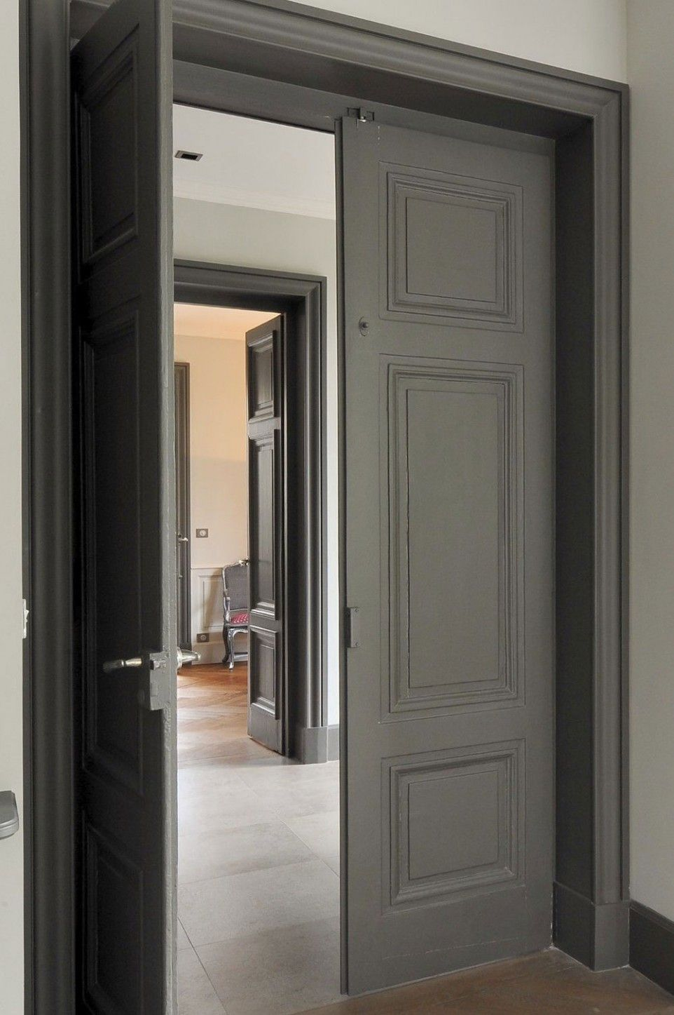 Home Improvement, Double Interior Doors: Double Benefits, Double Beauty:  Greenish Dark Grey Wooden Double Interior Doors