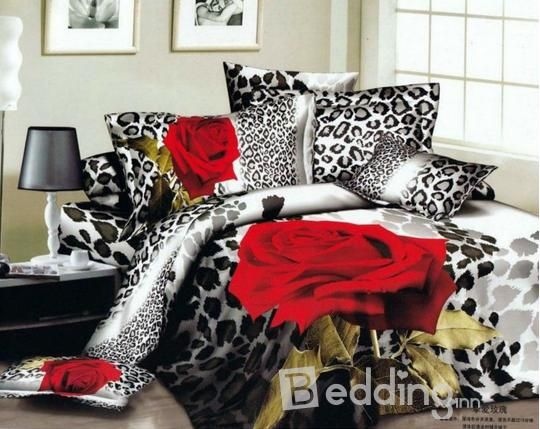 Rose And Leopard Print Bedding Set I Want This So Bad Red