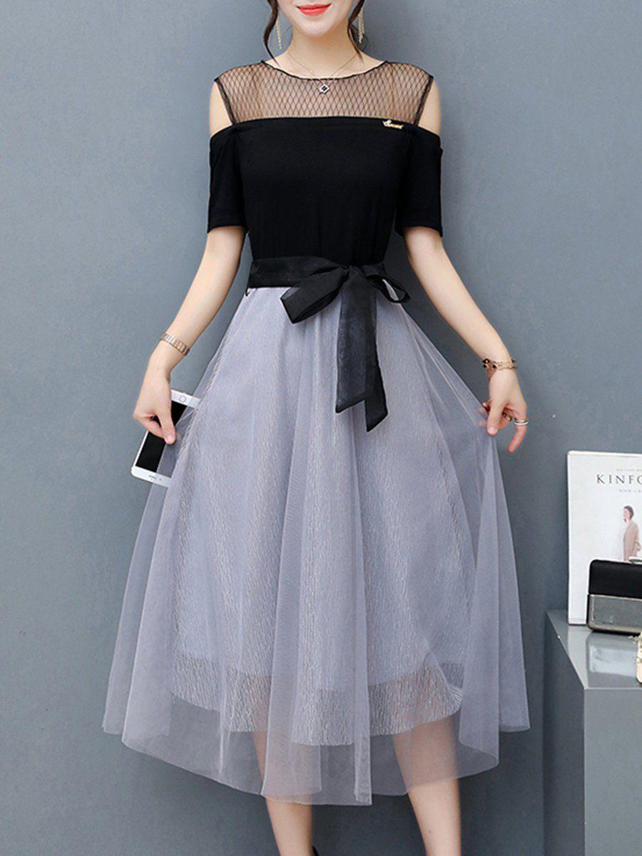 b1b99d6cbe0ad Mesh Cold Shoulder Elegant A-line Paneled Dress - PopJulia.com ...
