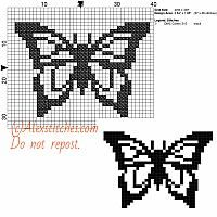 Little black butterfly free cross stitch pattern 40x30 1 color