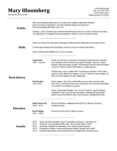 Easy Resume Templates Pinterest Sample resume, Template and