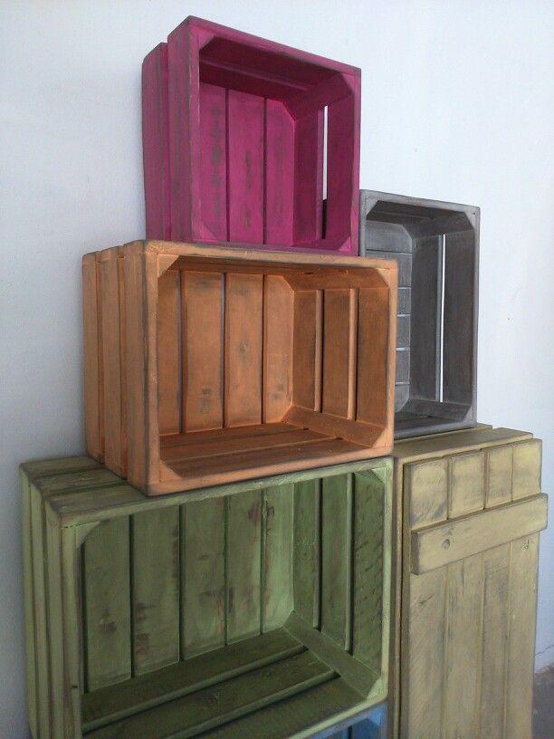 Cajas de madera pintadas cajas de fruta decoraci n de - Cajas de fruta recicladas ...
