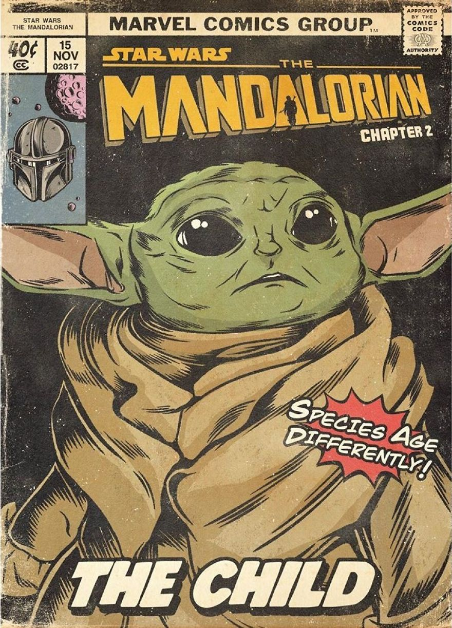Russian Artist Sums Up Each Episode Of The Mandalorian In Vintage Comic Book Covers (8 Pics)