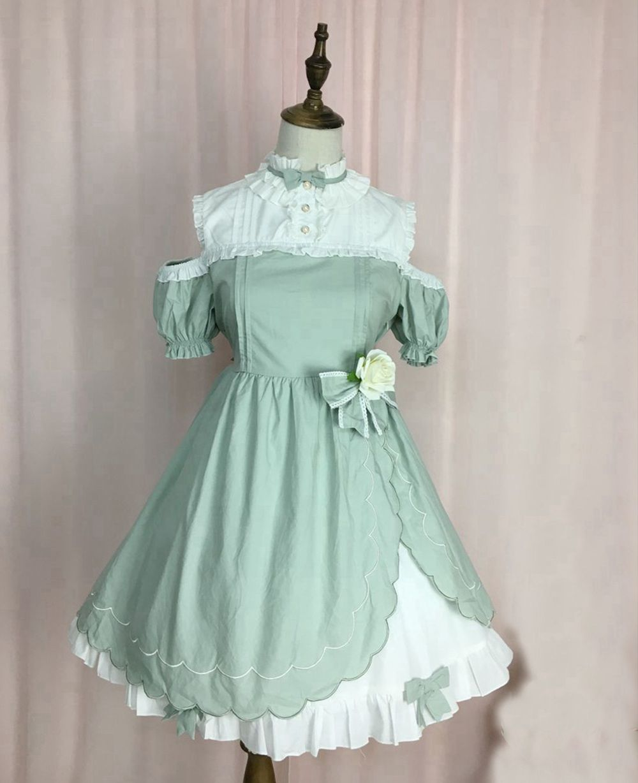 Click to Buy << Mori Girls Sweet Lolita OP Dress Ruffles Stand ...