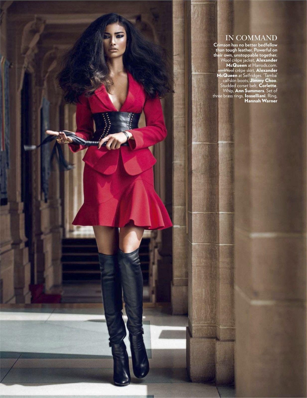 sexy red dress with big black belt over knee boots fashion pinterest vogue india. Black Bedroom Furniture Sets. Home Design Ideas