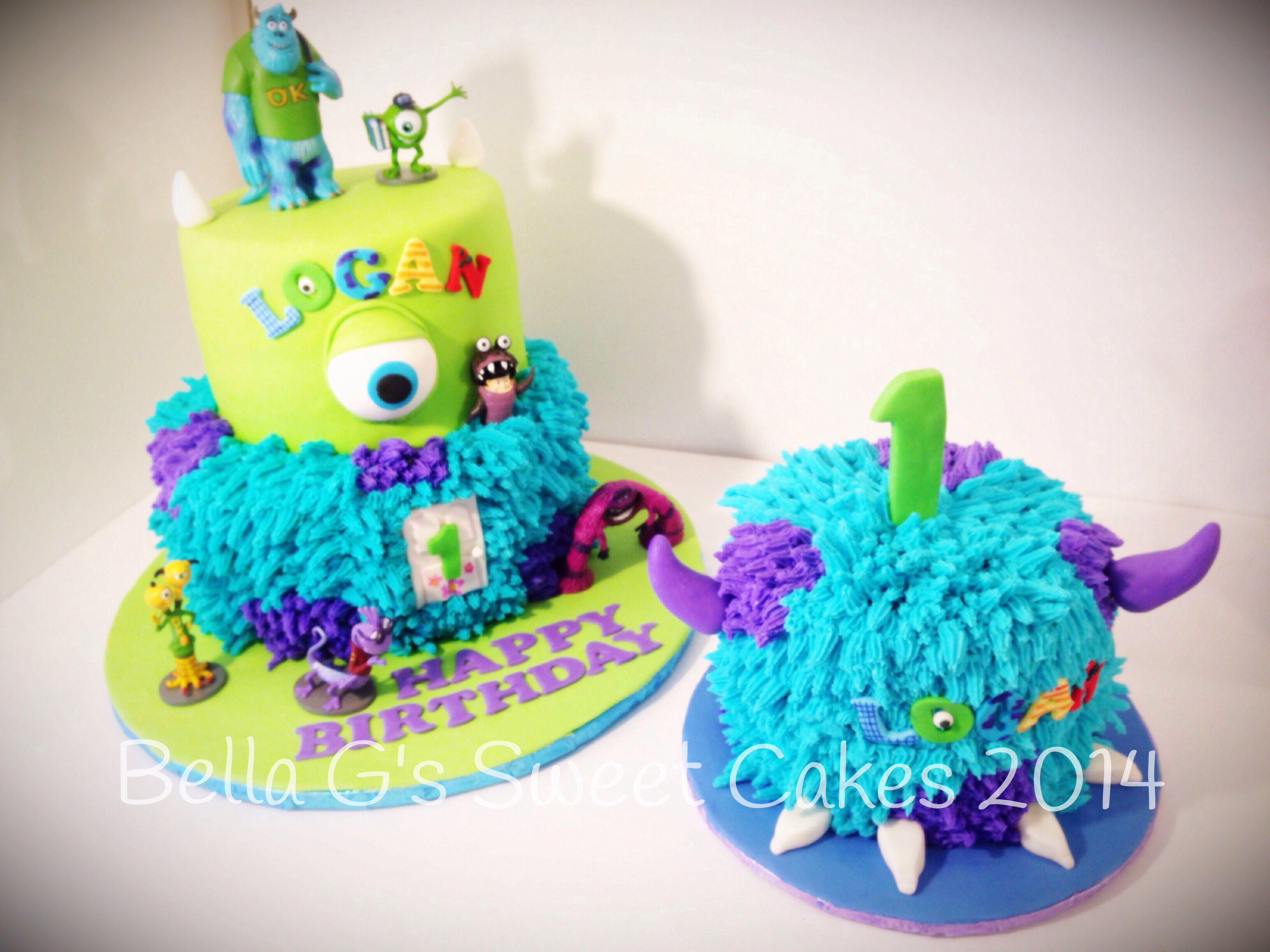 Astounding Monsters Inc Cake And Smash Cake Cupcake Cakes Cake Smash Cake Personalised Birthday Cards Epsylily Jamesorg