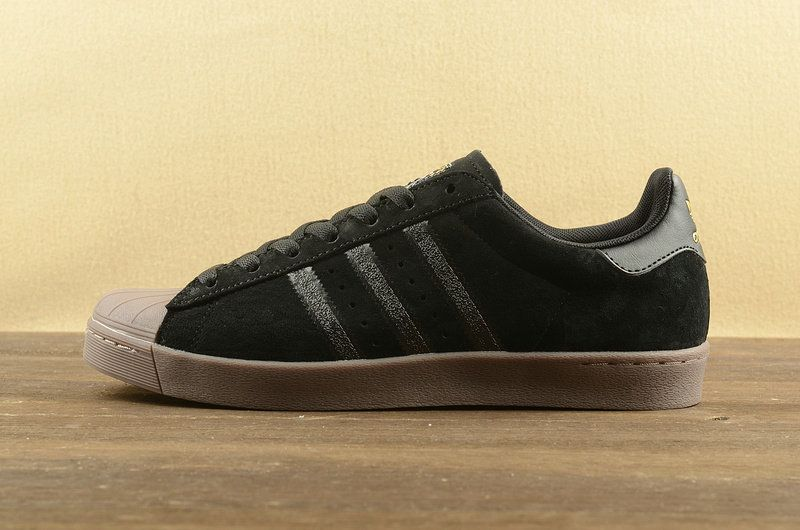 separation shoes 91f86 a3d0d New Adidas Superstar Vulc ADV Black Coffee Gold F37711