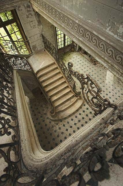 Abadnoned...Chateau des Singes, France, photo by Berrie Leijten, silent witnesses via Flickr.