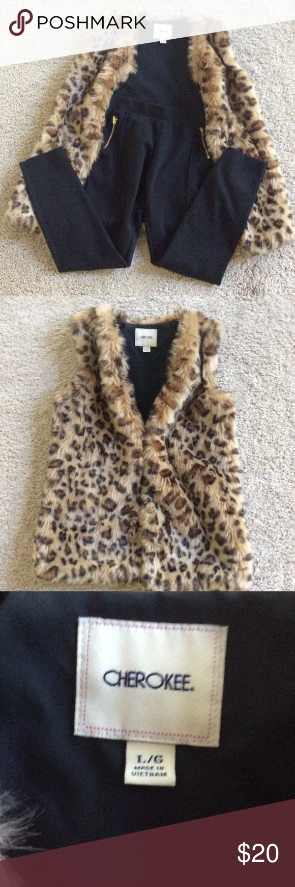 Cherokee leopard print vest and black pants Cherokee furry leopard print vest and black pants.  Pants are stretchy, pull on with cute gold zipper details.  Outfit worn once, great condition.  Goes great with Michael Kors boots I have listed.  Smoke and pet free home.  Both girls' size 10-12. Cherokee Jackets & Coats Vests