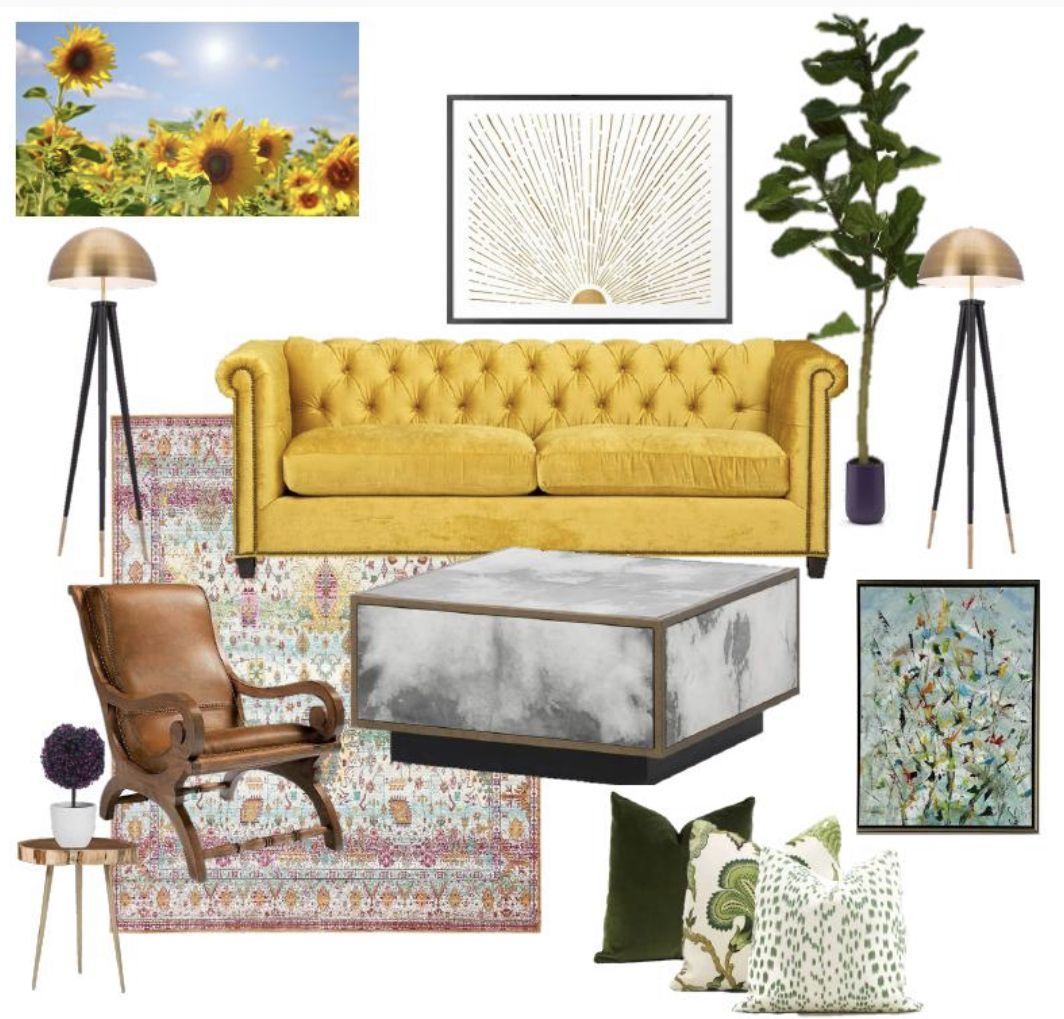 This design concept was inspired by sunflowers  For edesign services visit www.desiredhomedecor.com #edsign #homedesign #decoratedlifestyle #designer #interiordecor #interiordesign #sittingroom #livingroomideas #yellowlivingroomchairs #happy #sunflower