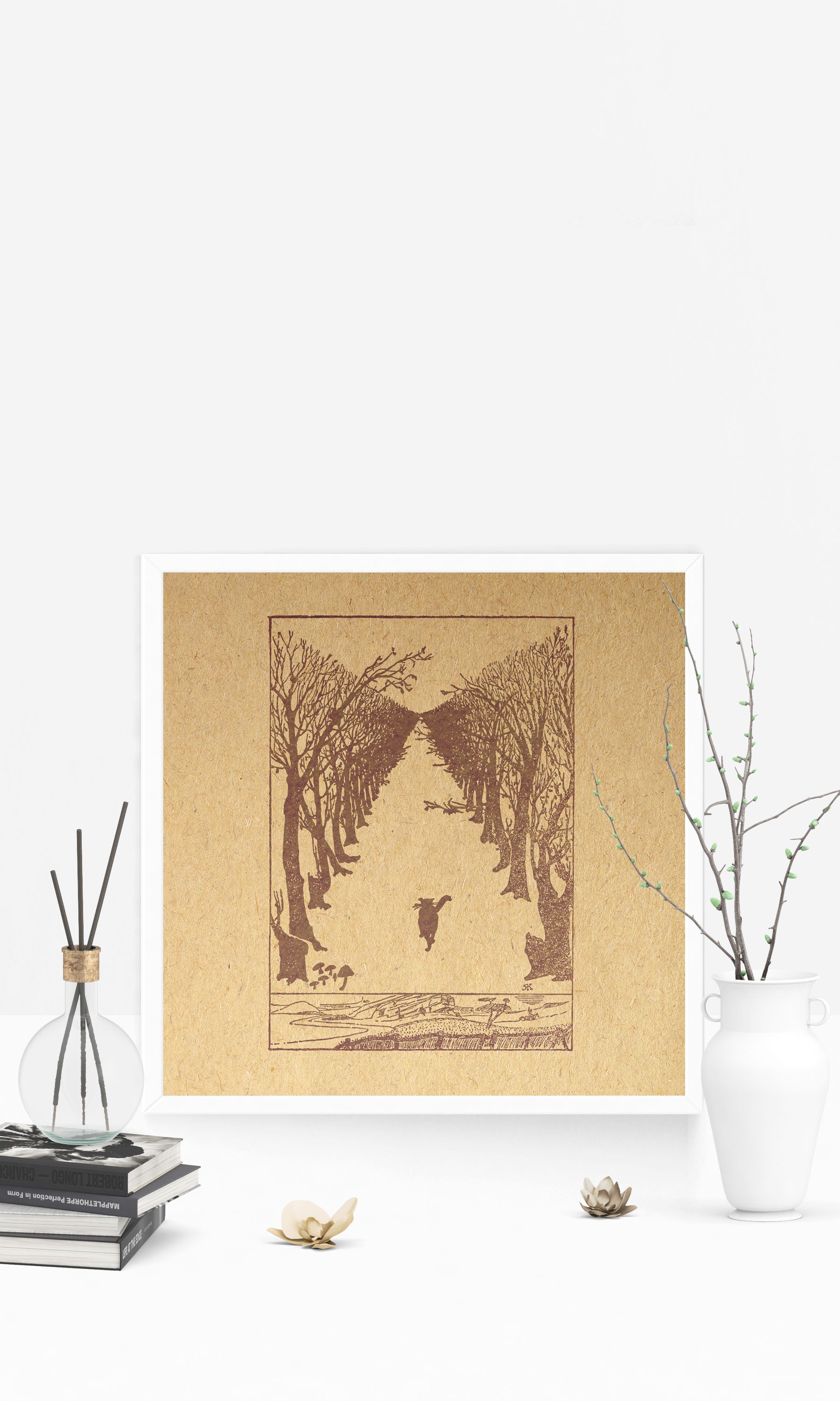 Vintage Cat Walking in Forest Print Illustrated