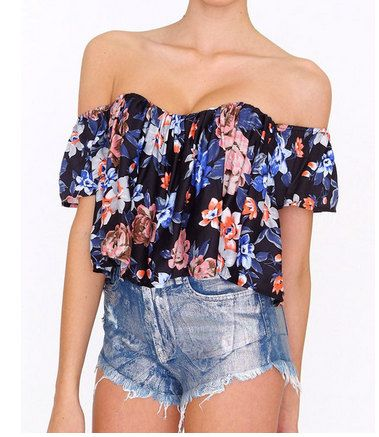 The SUMMER FLORAL Bardot Summer Blouse in Flroal . White Off The Shoulder Top with Bodice Underneath. Limited Amount