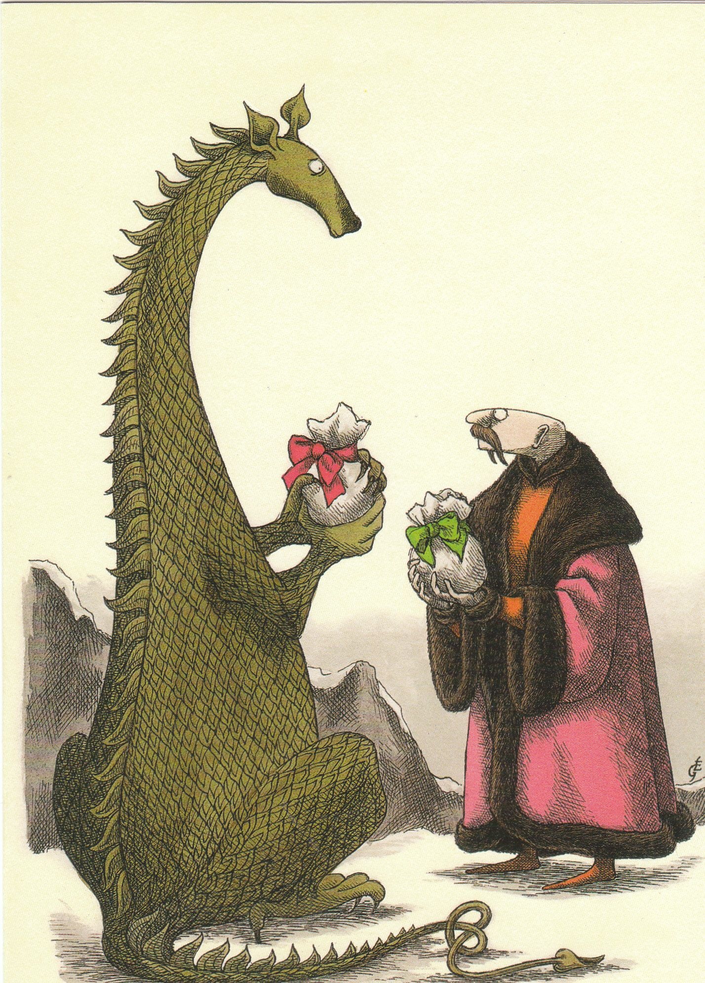 Christmas Dragon And Friend by Edward Gorey | WHIMSICAL & WONDERFUL ...