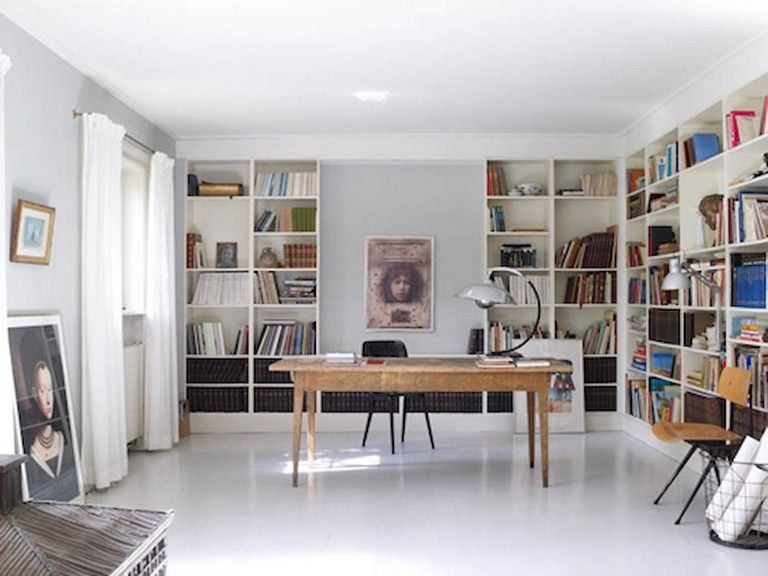 45 Amazing Scandinavian Ideas For Your Home Library Scandinavian Ideas Homelibrary Home Feminine Home Offices House Interior