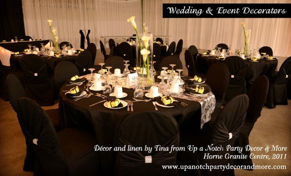 up a notch party decor more black linen chair cover rentals www rh pinterest com
