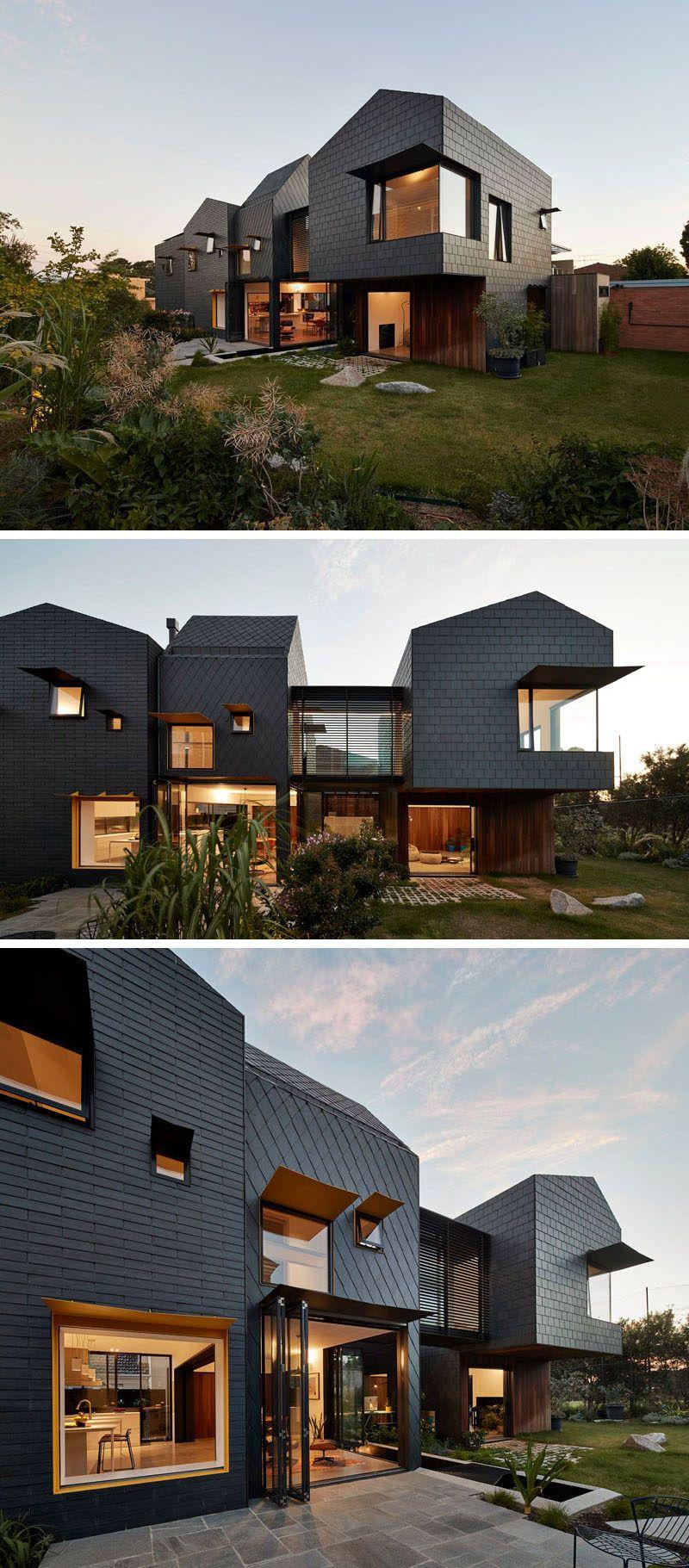 dark grey slate creatively covers this australian home modern rh pinterest com