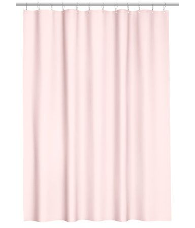 Light Pink Shower Curtain In Water Repellent Polyester With Metal Grommets At Top Rings Sold Separately
